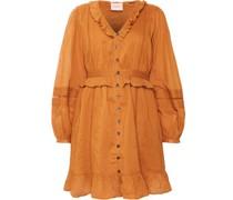 Kleid, Baumwolle, V-Ausschnitt, Spitzeneinsätze,