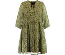 Kleid, Allover-Print, Tunika-Ausschnitt, ausgestellt,