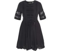 Kleid, kurz, Rundhals, Kurzarm, Spitze, Taillenband, uni,