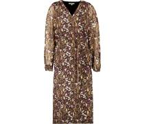 Kleid, idi-Längeangar, V-Ausschnitt, floral,