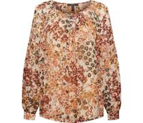 Bluse, langarm, Rundhalsausschnitt, florales Muster,