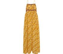 Maxi-Kleid, Spaghettiträger, Applikationen, Ethnomuster,