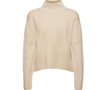 Pullover, Cropped, Stehkragen, Rippstrick,