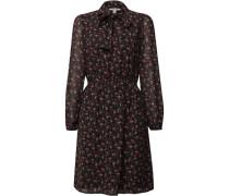 Kleid, florales Muster, Schluppe, tailliert,