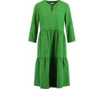 Kleid, Split-Neck, Print, Raffungen,