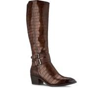 Stiefel, hoher Schaft, Reißverschluss, Blockabsatz, Reptillederoptik,