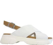Sandaletten, Glattleder, Keilabsatz,