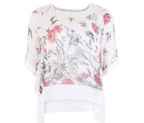 Blusenshirt transparent Blumen-Print Zipfelsaum Unterhemd Große Größen