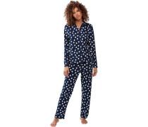 Schlafanzug, lang, Reverskragen, Knopfleiste, Punkte, reine Baumwolle,