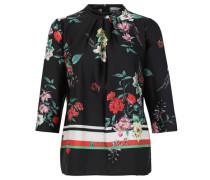 Blüten-Bluse, Stehkragen, Reißverschluss,