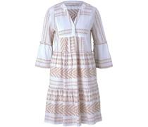 Kleid, 3/4-Armini, Allover-Print, V-Ausschnitt,