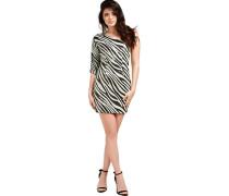 Kleid, kurz, Zebramuster, Off-Shoulder, Pailetten,
