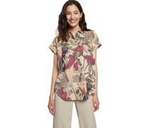 Bluse, Kurzarm, Blumen-Muster, Hemdkragen,