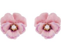 Ohrstecker, rosa Stiefmütterchen und Süsswasser Perlen