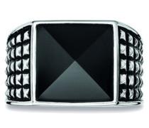 Ring 925/- Sterling Silber rhodiniert poliert Onyx