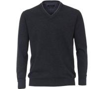 Green Pullover, V-Ausschnitt, Rippdetails, uni,