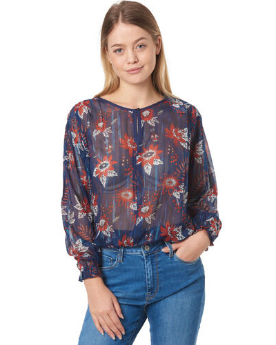 Bluse, langarm, , Blumen-Muster,