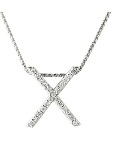 """Kette mit Anhänger """"X"""", 375 Weißgold mit Diamanten, zus. ca. 0,12 ct"""