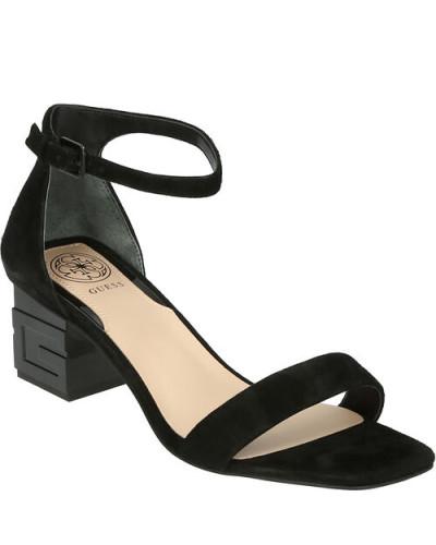 Sandaletten, Veloursleder, Blockabsatz,
