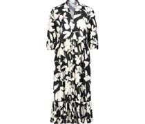 Kleid, 3/4-Arm, Floral, V-Ausschnitt, Knopfleiste,