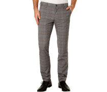 Hose, Regular Slim Fit, Karo-Muster, klassisch,
