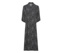 Kleid, stillvoll, Allover-Muster, Hemdkragen,