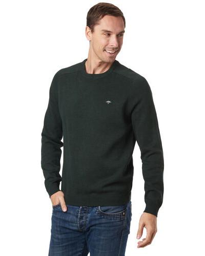 Pullover, Baumwolle, Rundhals, Logo-Stickerei, Riipbund, für Herren, dunkelgrün, L