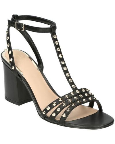 High Heel Sandaletten, Glattleder, Nieten-Verzierung,