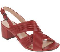 Sandaletten, unifarben, weiches Leder, breite Riemchen, Blockabsatz,