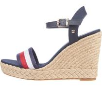 Shimmery Ribbon Keilabsatz-Sandaletten, Baumwolle,