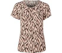 Shirt, Kurzarm, Jacquard-Muster, Rundhalsausschnitt, Spitzensaum,
