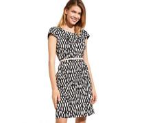 Kleid, Satin-Stil, Kontrast-Farben, kurze Passform, Taillen-Gürtel,
