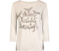 Shirt, 3/4 Arm, Strass-Vögel, Waschung, Wording, Waschung,