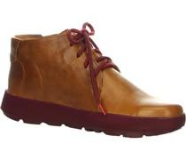 Ankle Bootseder, Schnürung, Reißverschlussaserdetails, uni,