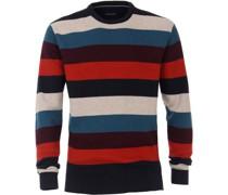 Pullover gestreift, Rundhalsausschnitt, Baumwoll-Wolle-Mix,
