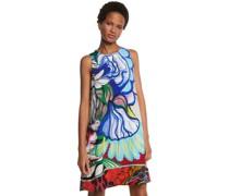 Kleid, kurz, ärmellos, Blumen-Muster, Rundhals,