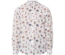 Langarmhemd, Button-Down-Kragen, Palmen Print,