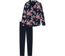 Pyjama, 1/1-Längeangarm, floral,