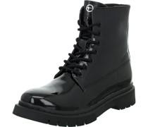 Boots, Schnürung, Zipperackoptik, uni,