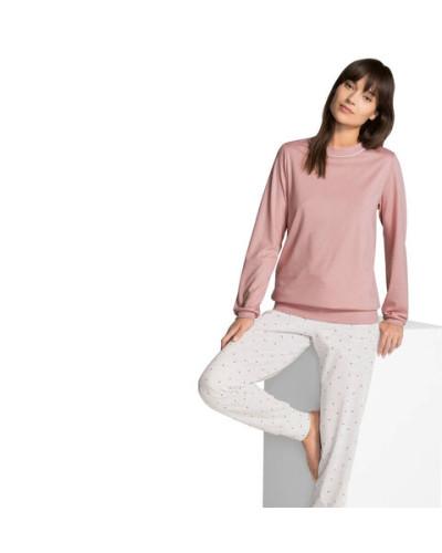 Schlafanzug, gepunktete Hose, Bündchen