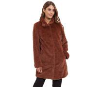 Mantel, Kunstfell, Eingrifftaschen, uni