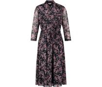 Kleid, 3/4 Arm, Allover-Paisley-Print, Klappkragen, Bindedetail,
