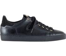 Leder-Sneaker, Glattleder, Strasssteine,