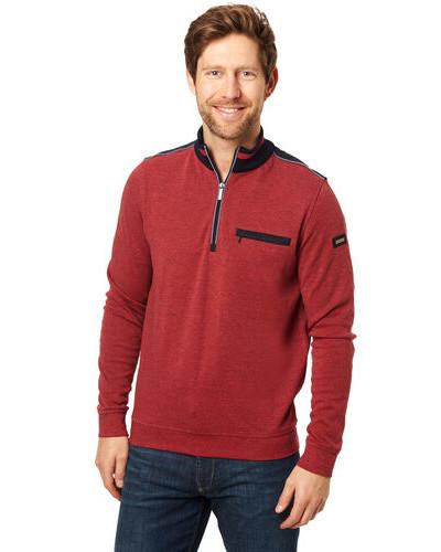 Sweatshirt, Troyer-Kragen, Reißverschluss, Schulterpattenogo Patch auf Ärmel,