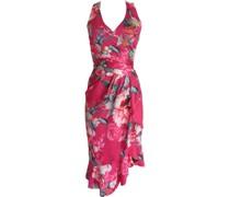 Midi Kleid, Volant, floral, figurbetont,