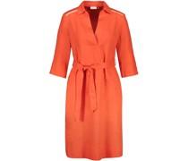 Leinen-Kleid, Bindegürtel, Schulterdetails,
