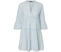 Kleid, 3/4-Arm, Streifen, V-Ausschnitt,