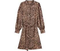 Kleid, Allover-Animal-Printeoangarm, Bindedetail, Reißverschluss, Stehkragen,