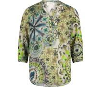 Bluse, 3/4-Arm, V-Ausschnitt, Batik,