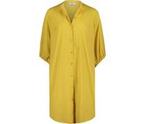 Kleid, 3/4-Arm, kurz, uni, Stehkragen, Knopfleiste,